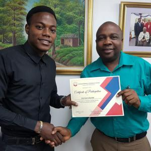 Customer service matters to us! Domion Shorter, from our Marketing department, receives his certificate for training in proper customer service last year.