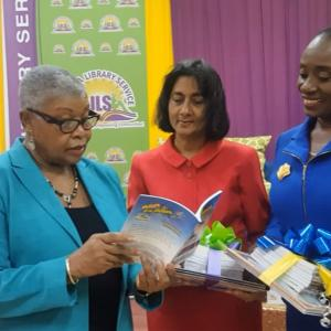 Carlong donated 1,000 children's books to the Jamaica Library Service (JLS) & Schools Library Network (SLN). From left to right: Shirley Carby, Chairman of Carlong Publishers, Patsy Gordon of SLN and Maureen Campbell, Director General of JLS.